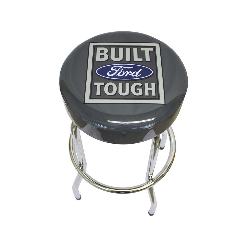 Built Ford Tough Logo Barstool Gray Vinyl Seats Garage Stools Man Cave Or Bar Décor Stool